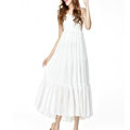 Elegant Dresses Summer Women V-Neck Beach Long Chiffon Bohemian - White