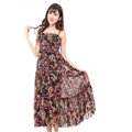 Elegant Dresses Summer Women V-Neck Printed Beach Long Chiffon Bohemian - Black Red