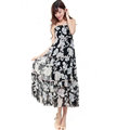 Elegant Dresses Summer Women V-Neck Printed Beach Long Chiffon Bohemian - Black