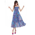 Elegant Dresses Summer Women V-Neck Printed Beach Long Chiffon Bohemian - Blue