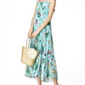 Elegant Dresses Summer Women V-Neck Printed Beach Long Chiffon Bohemian - Light Blue