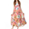 Elegant Dresses Summer Women V-Neck Printed Beach Long Chiffon Bohemian - Pink