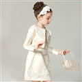 Elegant Dresses Winter Flower Girls Lace Wedding Party Dress - Beige