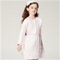 Elegant Dresses Winter Flower Girls Lace Wedding Party Dress - Pink
