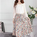 Fation Dresses Summer Girls Floral Bohemian Coast Semi Long Printed - Beige