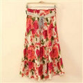 Fation Dresses Summer Girls Flower Bohemian Coast Semi Long Printed - Red