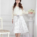 Fation Dresses Summer Girls Flower Bohemian Coast Semi Long Printed - White