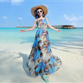 Fation Dresses Summer Girls Printed Bohemian Coast Chiffon Long - Dark Blue