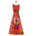 Fation Dresses Summer Girls Printed Bohemian Coast Chiffon Long - Orange