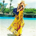 Fation Dresses Summer Girls Printed Bohemian Coast Chiffon Long - Yellow