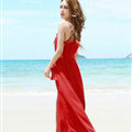 Fation Dresses Summer Girls Solid Bohemian Coast Chiffon Long - Red
