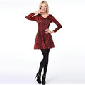Fation Dresses Winter Girls Leopard Print Long Sleeved Short - Red