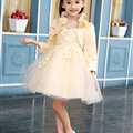 Fluffy Dresses Winter Flower Girls Lace Long Sleeve Wedding Party Dress - Beige