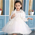 Fluffy Dresses Winter Flower Girls Lace Long Sleeve Wedding Party Dress - White