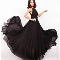 Glamorous Dresses Summer Women Strapless Beach Tunic Long Chiffon Solid - Black