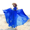 Glamorous Dresses Summer Women Strapless Beach Tunic Long Chiffon Solid - Blue