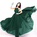 Glamorous Dresses Summer Women Strapless Beach Tunic Long Chiffon Solid - Dark Green