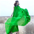 Glamorous Dresses Summer Women Strapless Beach Tunic Long Chiffon Solid - Green