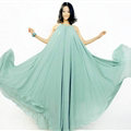 Glamorous Dresses Summer Women Strapless Beach Tunic Long Chiffon Solid - Light Green