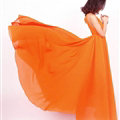 Glamorous Dresses Summer Women Strapless Beach Tunic Long Chiffon Solid - Orange
