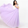 Glamorous Dresses Summer Women Strapless Beach Tunic Long Chiffon Solid - Purple