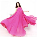 Glamorous Dresses Summer Women Strapless Beach Tunic Long Chiffon Solid - Rose