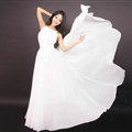 Glamorous Dresses Summer Women Strapless Beach Tunic Long Chiffon Solid - White