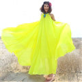 Glamorous Dresses Summer Women Strapless Beach Tunic Long Chiffon Solid - Yellow
