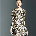 Gorgeous Dresses Spring Women Three-Quarter Sleeve Silk Leopard Print - Brown