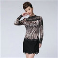 Sexy Dresses Fall Women Long Sleeve Stitching Lace Leopard Print - Pink Black