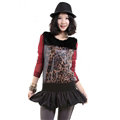 Sexy Dresses Spring Women Long Sleeve Fur Leather Leopard Print - Red Black