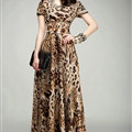 Sexy Dresses Summer Female Skirts Leopard Print Long Tunic Stitching Plus Size - Brown