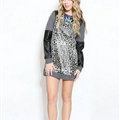 Street Dresses Winter Girls Leopard Print Long Sleeved Short - Black