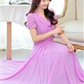 Sweet Dresses Summer Female Skirts Lantern Sleeve Long Chiffon Solid - Purple