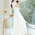 Sweet Dresses Summer Female Skirts Lantern Sleeve Long Chiffon Solid - White