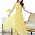 Sweet Dresses Summer Female Skirts Lantern Sleeve Long Chiffon Solid - Yellow