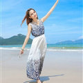 Sweet Dresses Summer Girls Affordable Flower Bohemian Coast Chiffon Long - Blue