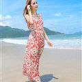 Sweet Dresses Summer Girls Affordable Flower Bohemian Coast Chiffon Long - Red