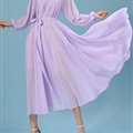 Sweet Dresses Summer Girls Bohemian Coast Lantern Long Sleeve Chiffon Long - Purple