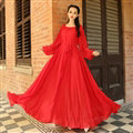 Sweet Dresses Summer Girls Bohemian Coast Lantern Long Sleeve Chiffon Long - Red