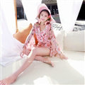 Sweet Dresses Summer Girls Floral Bohemian Coast Long Sleeve Chiffon Short - Pink