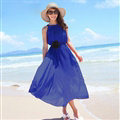 Sweet Dresses Summer Girls Solid Bohemian Coast Chiffon Long - Blue