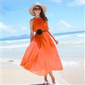 Sweet Dresses Summer Girls Solid Bohemian Coast Chiffon Long - Orange