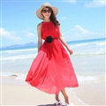 Sweet Dresses Summer Girls Solid Bohemian Coast Chiffon Long - Red