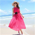 Sweet Dresses Summer Girls Solid Bohemian Coast Chiffon Long - Rose