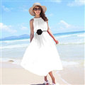 Sweet Dresses Summer Girls Solid Bohemian Coast Chiffon Long - White