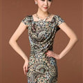 Temperament Dresses Summer Women Leopard Print Plus Size - Green