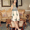 Temperament Dresses Summer Women Leopard Print Silk Plus Size - Beige