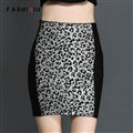 Temperament Dresses Winter Women Leopard Print Semi Knitted - Black White
