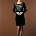 Temperament Dresses Winter Women Sparkly Leopard Print Plus Size Diamond - Green